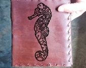 Seahorse Custom Journal - Beautiful Leather Diary Journal Custom Designed Renaissance Book Vintage Notepad  Dream Journal - Unlined Engrave