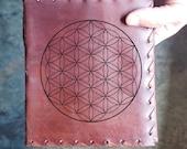 Flower of Life Sacred Geometry Custom Journal - Beautiful Leather Diary Custom Designed Renaissance Book Vintage Notepad  Dream Journal