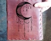 Moonlight Custom Journal - Beautiful Leather Diary Journal Custom Designed Renaissance Book Vintage Notepad  Dream Journal - Unlined Engrave