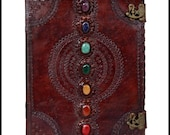 Seven Stone Chakra Leather Journal - Medium Sized Journal - Memory Book - Spell Book - Drawing Book - Perfect Gift - Unique Handmade Book