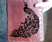 Peacock Custom Journal - Beautiful Leather Diary Journal Custom Designed Renaissance Book Vintage Notepad  Dream Journal - Unlined Engrave