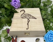 Flamingo Engraved Wooden Chest - Beautiful Crystal Chest - Personalized Trinket Box - Keepsake Gift Box - Limited Edition Adorable Treasure