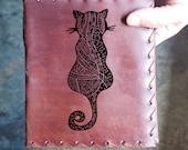 Cat Mandala Custom Journal - Beautiful Leather Diary Journal Custom Designed Renaissance Book Vintage Notepad  Dream Journal - Unlined