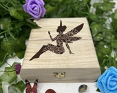 Fairy Engraved Wooden Chest - Beautiful Crystal Chest - Personalized Trinket Box - Keepsake Gift Box - Limited Edition Adorable Treasure