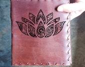 Lotus Custom Journal - Beautiful Leather Diary Journal Custom Designed Renaissance Book Vintage Notepad  Dream Journal - Unlined Engrave