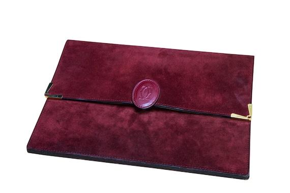 Vintage suede Cartier clutch bag