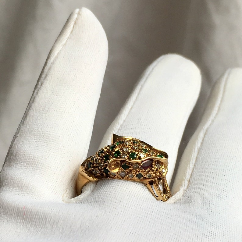 345a9b3e44af8 Vintage Panther 14k Yellow Gold Ring pave w/Diamonds, Emeralds and Ruby Eyes