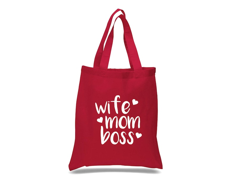 Quote Canvas Shopping Bag Wife Mom Boss Tote Bag Mothers Day Gift Eco Reusable Cotton Canvas Market Shopper Bag