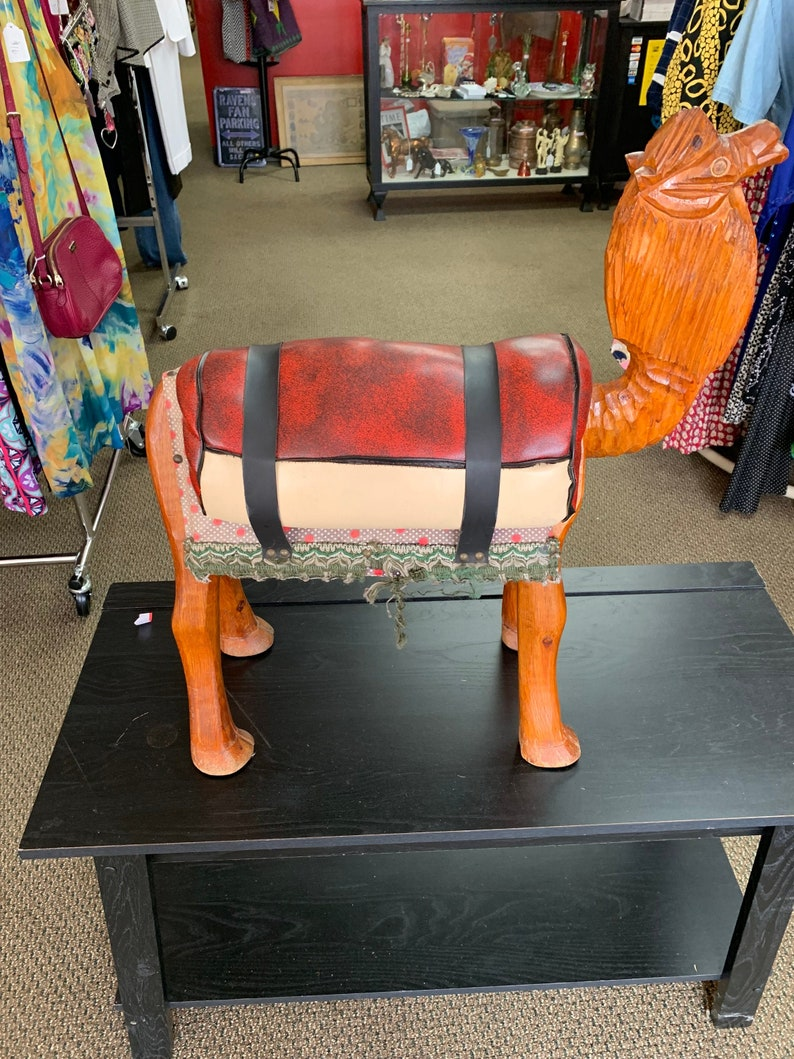 Enjoyable Vintage Leather Camel Saddle Foot Stool Hand Carved Machost Co Dining Chair Design Ideas Machostcouk