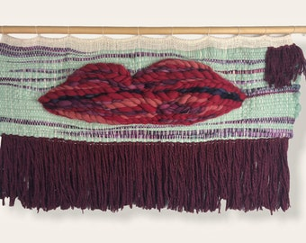 Lips! Wide Woven Wall Hanging