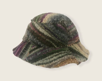 Multicolor Patchwork. Woven, Felted Bucket Hat