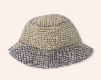 Lavender and Beige Color Block Woven Bucket Hat