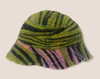 Zebra Green and Pink Woven Bucket Hat (Small)