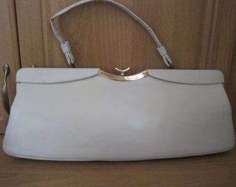 917c3a0e83b540 Original Vintage 1950s Cream Beige Long Style Handbag Lyn Art Marilyn
