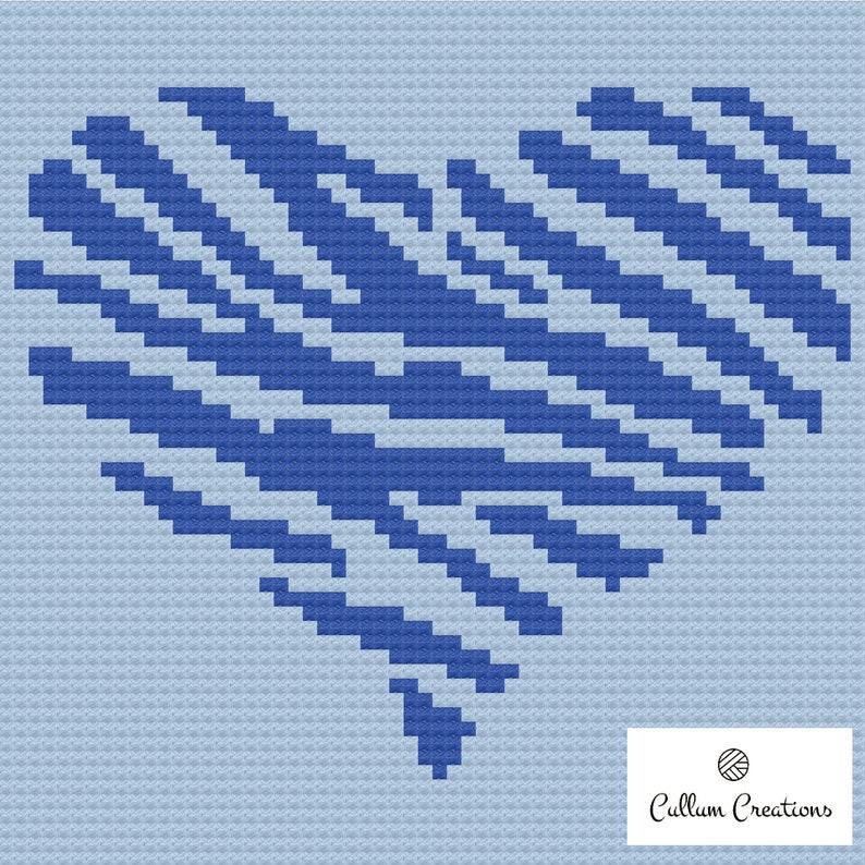 C2C Blue Zebra Heart by Cullum Creations