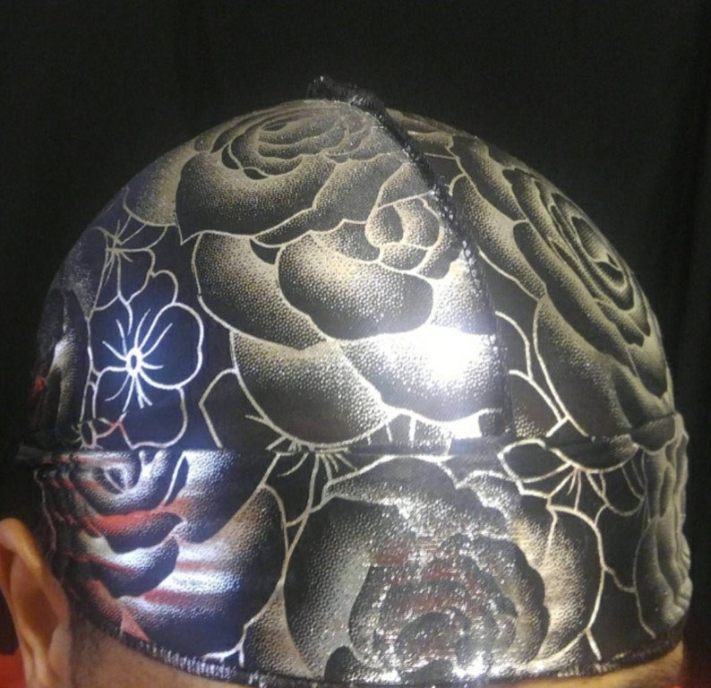 Silky Flower Durag Black And Silver