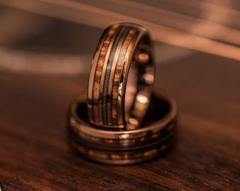 Guitar string ring with Hawaiian koa wood, guitar string ring, rock and roll ring, wooden wedding Ring, musician ring, guitarist ring, koa