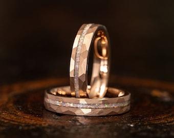 Womens Opal wedding Ring, Rose gold opal ring, Womens opal ring, Fire opal ring, womens Wedding Band,  tungsten Ring, opal Wedding Band,