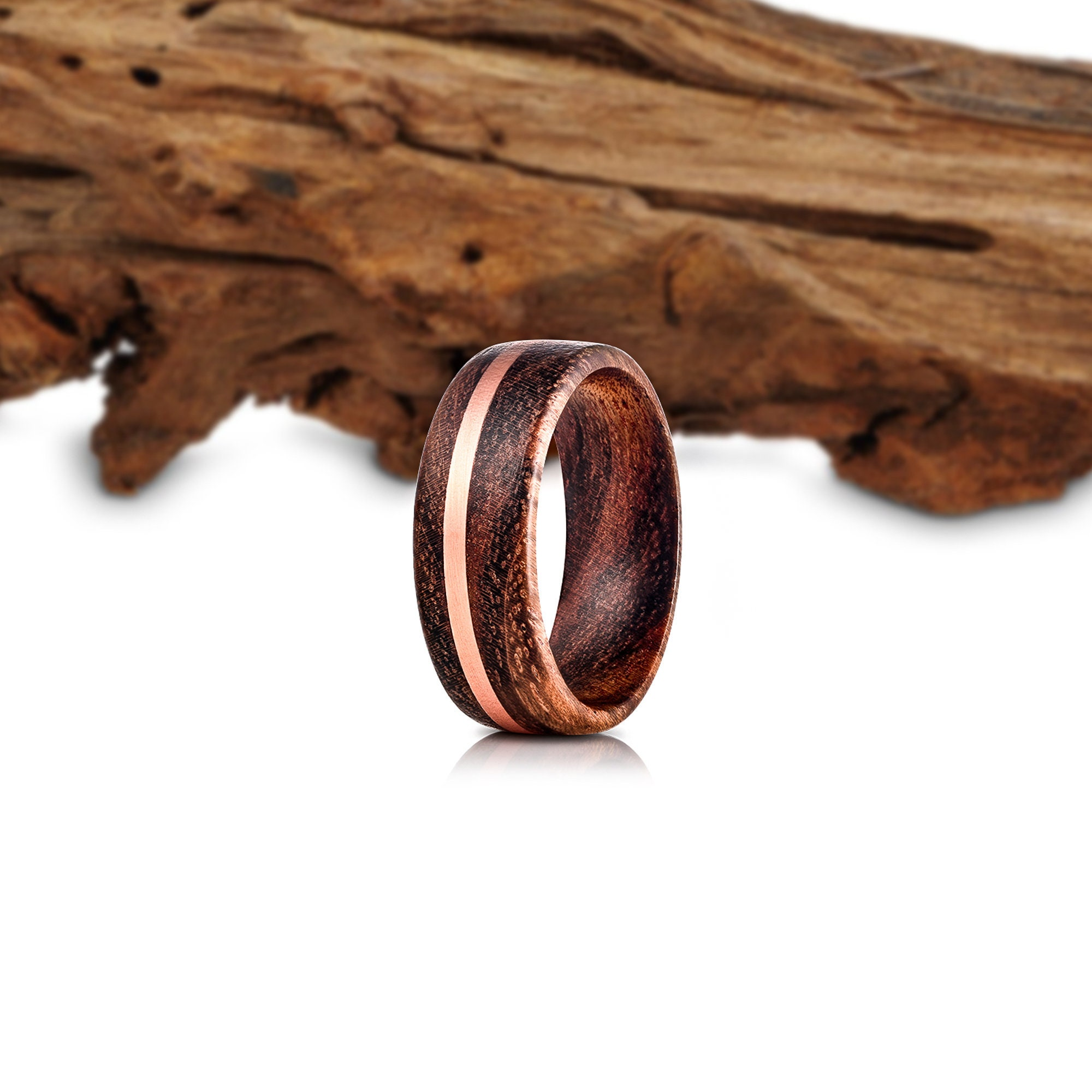 Koa Wood Wedding Band Wood Ring Wood Ring Wood Copper Inlay Etsy