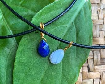 Blue Lace Agate and Lapis Lazuli Pendant A49