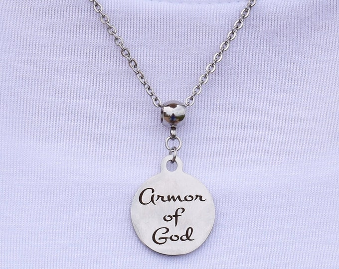 Armor of God Stainless Steel Charm Necklace