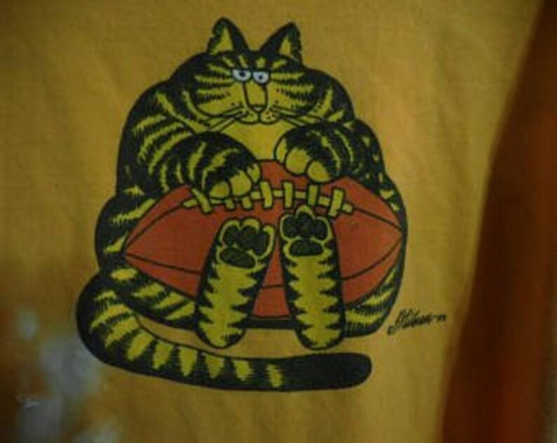 EX Large Vintage Golden Yellow Tie Dye Kliban Cat T-Shirt Vintage KLIBAN Cat Crazy Shirt Football Cat