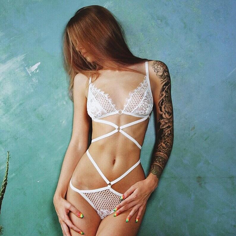 white sheer lingerie set White lace lingerie set