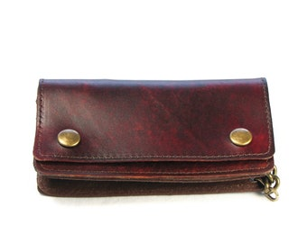 Hand Stained Brown Veg-Tan Leather Biker Chain Wallet-Antique Brass Chain
