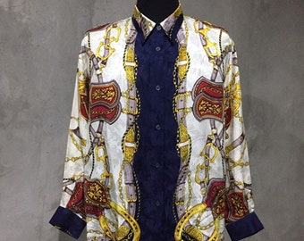 5d81d751 Vintage Madame Rivère Baroque Silk Shirt Looks Like Hermes Chanel Versace