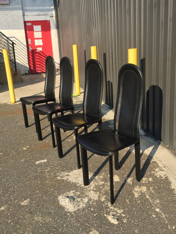 Modern Italian Black Leather Dining Chairs By Artedi Set Of Etsy