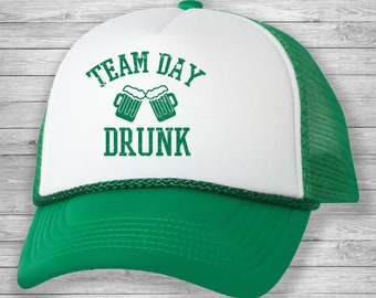 93d30916282c Team Day Drunk,St. PATRICK'S DAY Trucker Hat,St. Patty's Day Hat, St. Patricks  Day Hat, Trucker Cap, Hat, Irish, St. Patrick,Irish