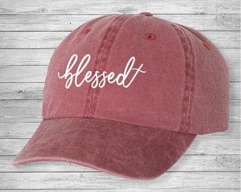 727e3d0e636 Blessed cursive cross hat