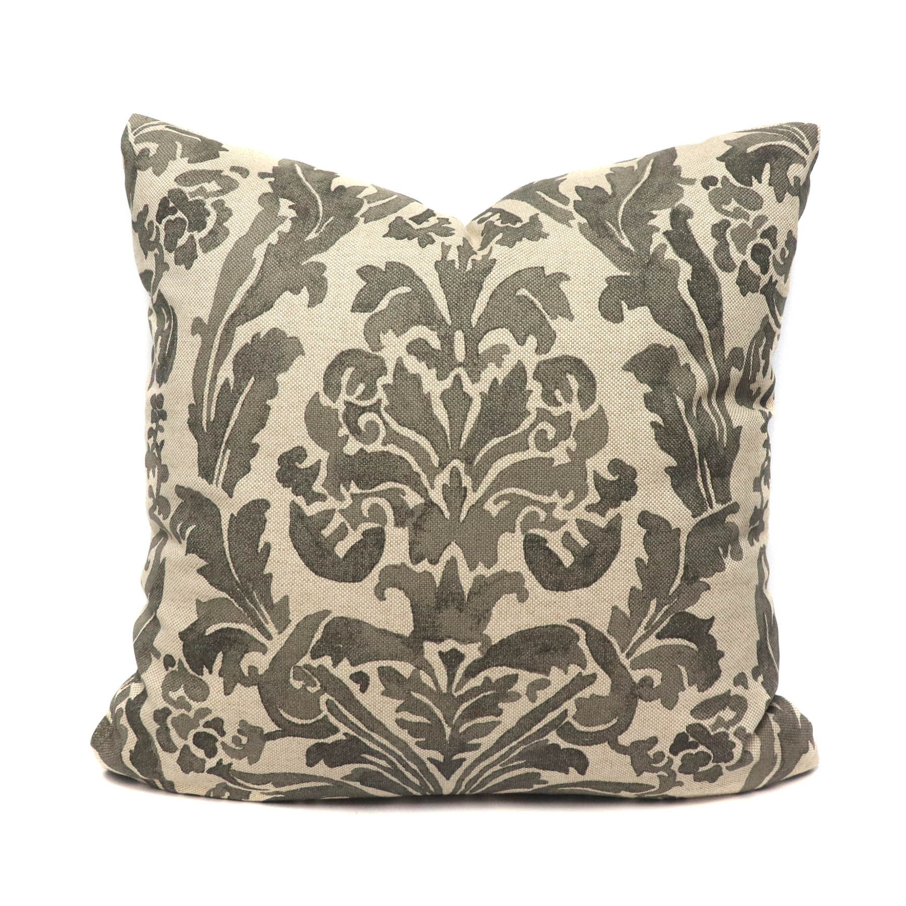Gable damask pillow cover in stone