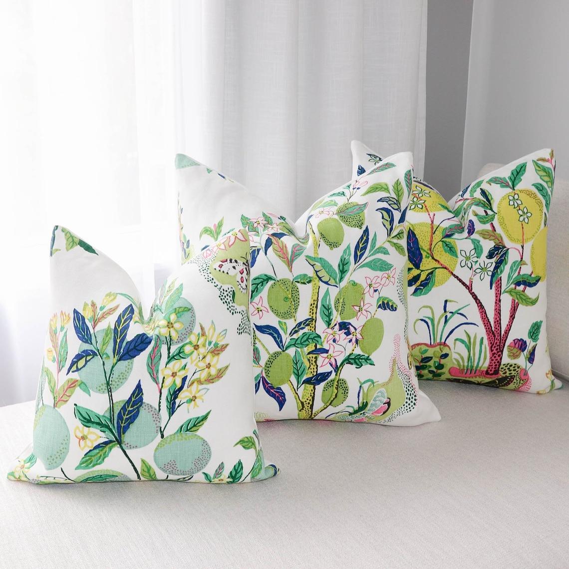Schumacher Citrus Garden pillow cover in Lime