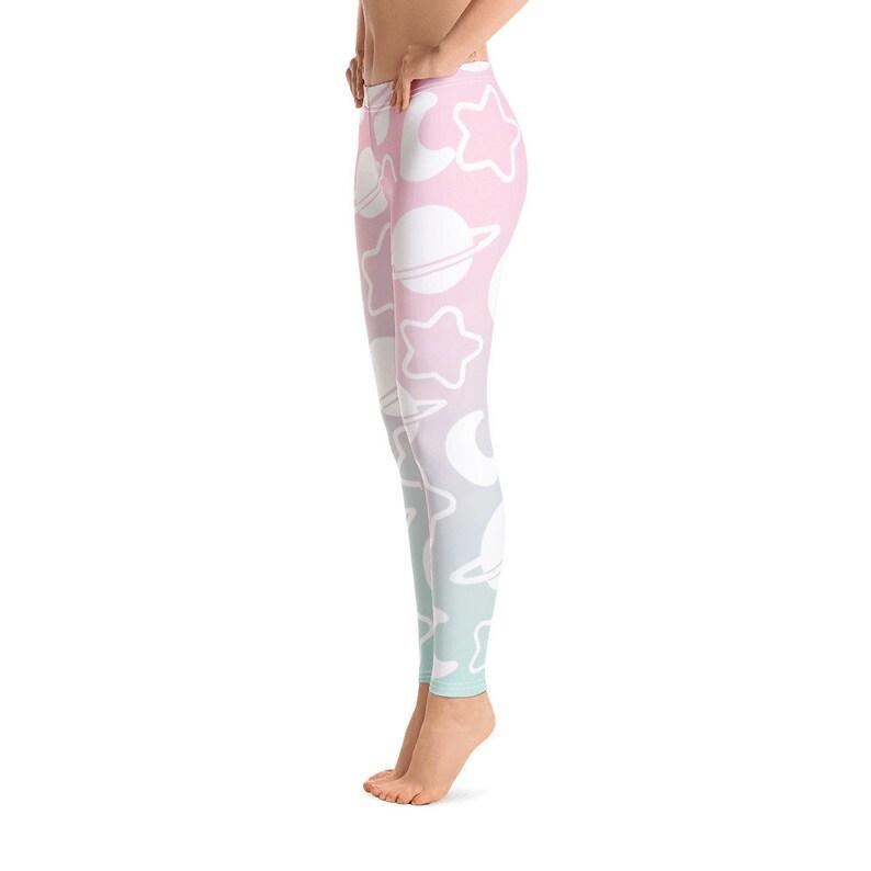 Pastel Galaxy Leggings Soft Matte Yoga Leggings Kawaii Pastel Unicorn Colors Stars and Moons Leggings Fairy Kei Pastel Goth Leggings