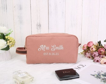 Personalized Toiletry Bag Women Monogrammed Makeup Pouch Cosmetic Bag Bridesmaid Gift Bridesmaid Proposal Anniversary Gift for Her