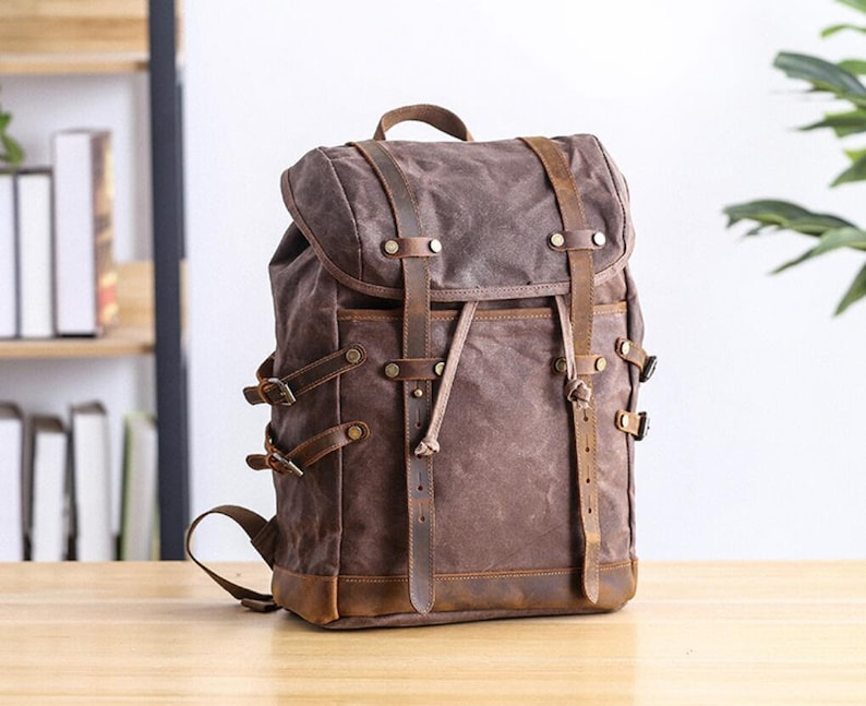 Laptop Backpack--3colors Travel Backpack Waxed Backpack Waterproof Backpack Extra Larger  Canvas Leather Backpack Canvas Rucksack