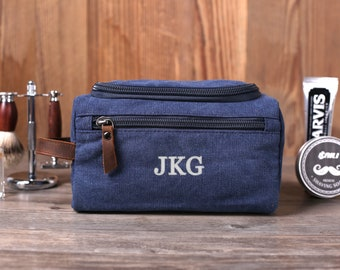 Personalized Groomsmen Gift, Shaving Dopp Kit, Embroidered Canvas Toiletry Bag, Washed Canvas Travel Case, Reusable Toiletry Pouch