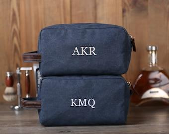 Personalized Canvas Toiletry Bag, Monogrammed Dopp Kit, Shaving Kit, Groomsmen Gift Ideas, Men's Travel Case, Groomsman Gift, Wedding Gifts