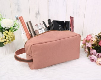 Personalized Canvas Makeup Pouch, Monogrammed Toiletry Bag Women, Cosmetic Bag, Bridesmaid Gift, Wedding Gift, Gift for Her
