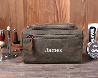Personalized Groomsmen Gift, Washed Canvas Dopp Kit, Men's Toiletry Bag, Travel Shaving Kit, Embroidered Wedding Gift Ideas, Best Man Gifts