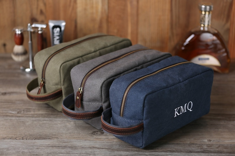 Personalized Toiletry Bag Monogrammed Groomsmen Gift Washed image 0