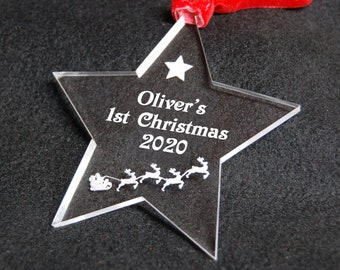 Personalised Star Tree Decoration - 1st Chrsitmas Tree Decoration - Christmas 2020