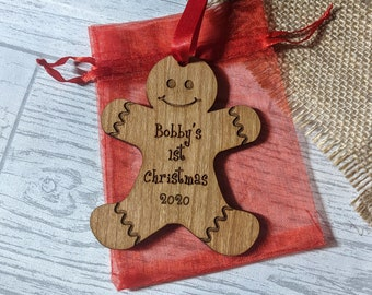 Personalised 1st Christmas Gingerbread Tree Decoration - 1st Tree Decoration - Baby's First Christmas 2020 - New Baby Tree Dec - Gingerbread
