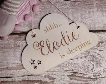 Shhh Baby Sleeping Plaque - Personalised Nursery Decor - Rustic Nursery Decor - Baby Sleeping Sign - Baby Shower Gift - New Born Gift