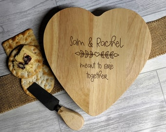 Personalised Heart Shaped Cheese Tool Set - Valentine, Wedding Gift, Anniversary Gift, cheese board, cheese knives, Funny Cheese Pun Couples