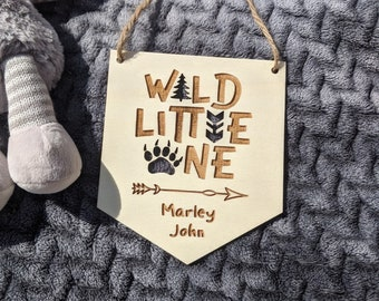 Wild Little One, Personalised Wooden Baby Nursery Flag, Hanging Bedroom Decoration, Gift, Name SIgn, Personalised Nursery Decor