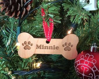 Dog Bone Wooden Personalised Christmas Tree Decoration