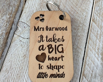Personalised teacher keyring, It Takes A Big Heart To Shape Little Minds, Teacher Gift Keyring, Thank you teacher, End of school year gifts