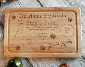 Christmas Eve Tray - Santa Platter - Santa board, Engraved Santa treat board, Personalised Santa board, Christmas plate, Cookie plate